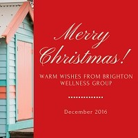 Image with wording that says Merry Christmas, Warm Wishes from Brighton Wellness Group.